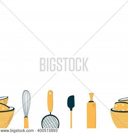 Vector. Seamless Pattern With Baking Essentials. Baking