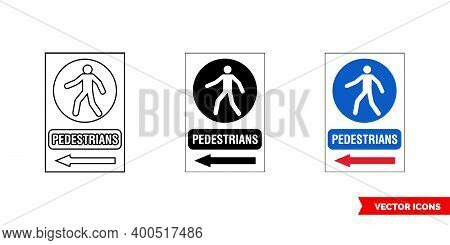 Construction Mandatory Sign Pedestrians Icon Of 3 Types Color, Black And White, Outline. Isolated Ve