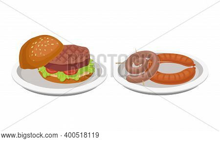 Barbeque Food With Grilled Sausage Or Wurst And Hamburger With Roasted Cutlet Served On Plate Vector