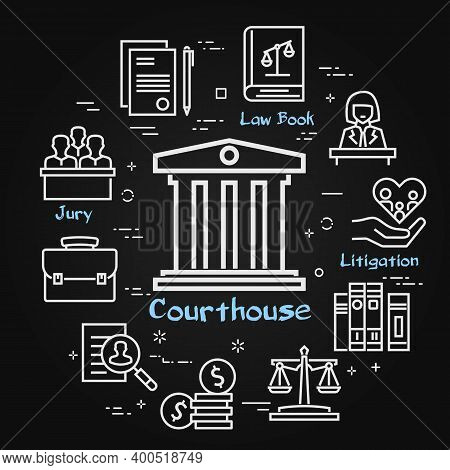 Vector Black Line Banner Of Legal Proceedings - Courthouse Icon