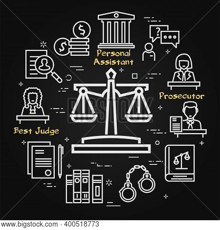 Vector Black Line Banner Of Legal Proceedings - Scales Of Justice Icon