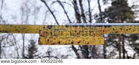 Yellow Crossbar Pole Metal,   Rusty Metal Texture,  Deep Fracture Of Metal With Peeling Paint, Conce