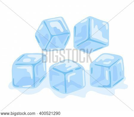 Set Of Water Ice Cubes. Transparent Blue Ice In Form Of Cube. Frozen Water In Blocks. Refreshing Ice