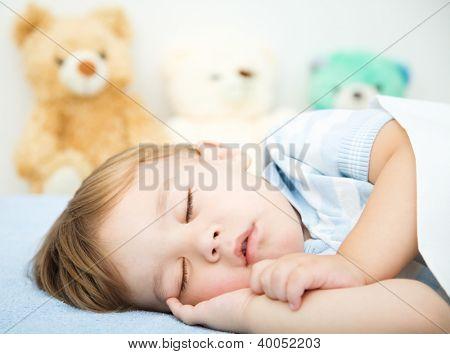 Cute little boy is sleeping in front of his teddy bears