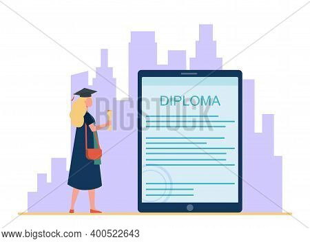 Student Looking At Electronic Diploma On Gadget Screen. Graduation Cap, Gown, Tablet Flat Vector Ill