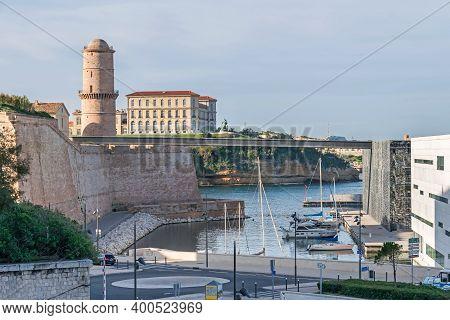 Marseille, France - November 1, 2019: Historic Port Area With Promenade Esplanade J4, Fort Saint-jea