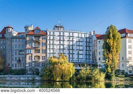 Berlin, Germany - November 7, 2020: Street Lietzenseeufer With Buildings Of Haus See-eck, Belle-etag