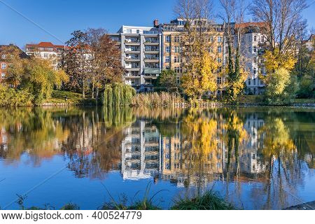 Berlin, Germany - November 7, 2020: Park And A Listed Garden Lietzensee And Buildings On The Shore O