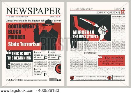 Newspaper Page With Criminal News. Vector Template For Newspaper Layout With Unreadable Text, Headli