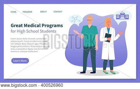 Great Medical Programs For High School Students Landing Page Webpage Template With Doctors Man And W