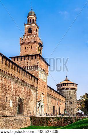 Milan, Lombardy, Italy - October 5 2017: Torre Del Filarete Of The Sforza Castle (castello Sforzesco