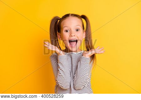 Portrait Of Young Excited Shocked Crazy Smiling Girl Child Kid Hold Hands Isolated On Yellow Color B