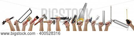Objects Hands Action - Very Big Banner, Collage Hands Hold Building Tools Isolated White Background.