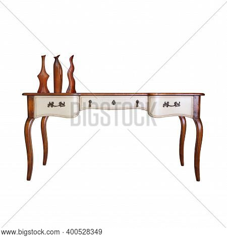 Vintage Furniture - Retro Desk Table And Three Antique Vases Isolated On A White Background