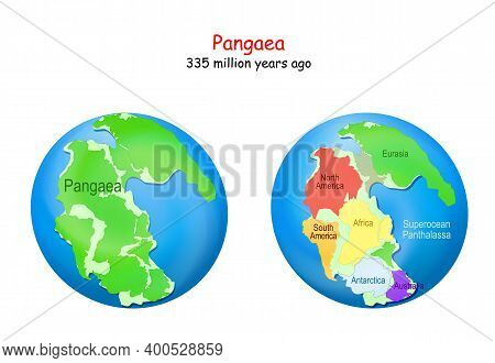 Globe With Supercontinent Pangaea, Modern Continental Borders, And Superocean Panthalassa. Pangea Ma