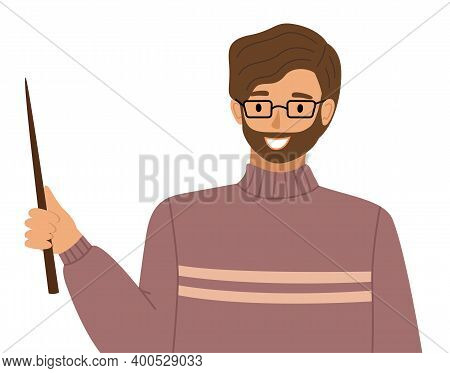 Smiling Man Teacher Conducts A Lesson Points With A Pointer Somewhere Isolated On White. Bearded Bus