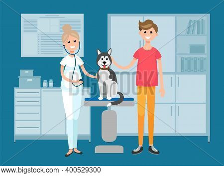 Vet Doctor Holds Husky On Examination Table In. Veterinarian With A Phonendoscope Working With A Dog