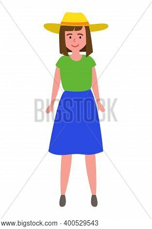 Beautiful Girl In A Straw Hat Is Standing And Smiling Vector Illustration. Female Character Isolated