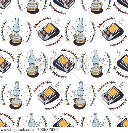 A Kerosene Lamp And Matches. Seamless Pattern On A White Background. Cute Vector Illustration.