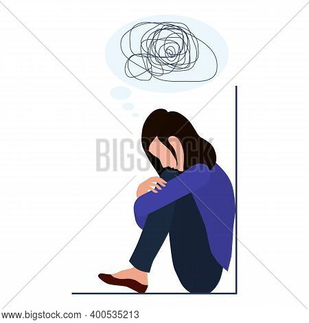 A Woman Is Depressed With Confused Thoughts In Her Head. Mental Disorder, Search For Answers, Confus