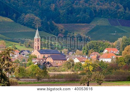 View Of Ohlsbach Town In The Black Forest Mountains