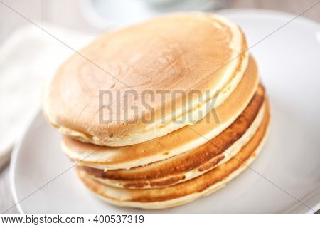 Delicious Buttermilk Stock Pancakes On A Plate.