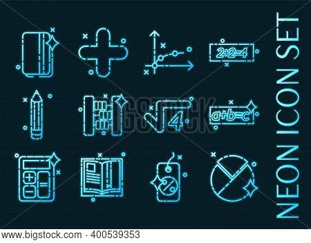Set Of Algebra Blue Glowing Neon Icons