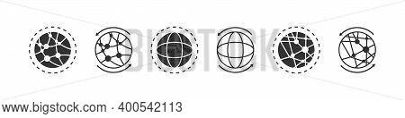 Globe Sign Concept. Earth Icons. World International Earth Globe Icon Set. Linear Style. Vector Illu