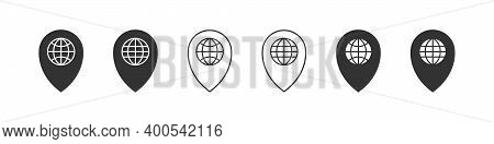 Pointer Icons. Geolocation Sign. Pointer Icons Set. Linear Style. Vector Illustration
