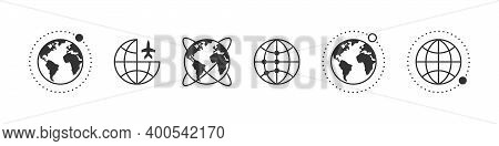 Earth Icons. Globe Icons With Moon. World International Earth Globe Icon Set. Trendy Style. Vector I