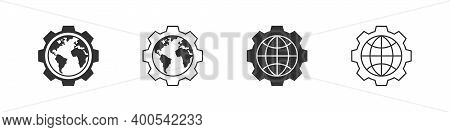 Earth Icons. Globe Icons Gear. World International Earth Globe Icon Set. Trendy Style. Vector Illust