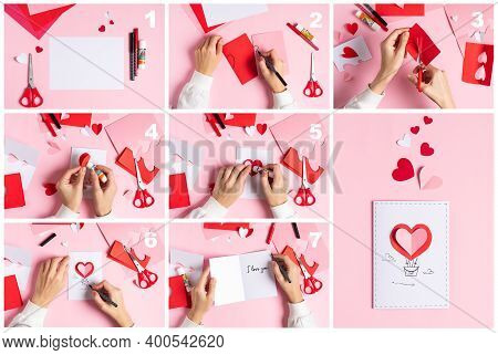 Top View Collage Making Of Handmade Valentine Greeting Card From Paper. Diy, Hobby Concept, Gift Ide