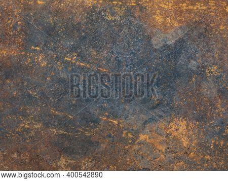 Rusty Metal Surface With Streaks Of Rust. Rusty Corrosion. Orange Rust And Dirt On Steel Enamel. Rus