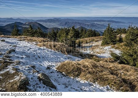View From Mincol Hill, Little Fatra Mountains, Slovak Republic. Hiking Theme. Seasonal Natural Scene