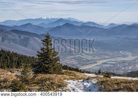 Martin Town From Mincol Hill, Little Fatra Mountains, Slovak Republic. Hiking Theme. Seasonal Natura