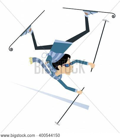 Falling Skier Woman Illustration. Falling Skier Woman In Sunglasses Isolated On White