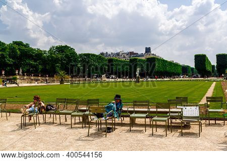 Paris, France - May 24, 2018: A People Resting In Luxembourg Gardens In Paris.