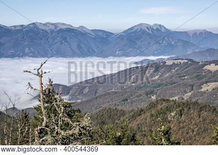 Little Fatra Mountains From Big Fatra, Slovak Republic. Travel Destination. Inverse Weather Scene.