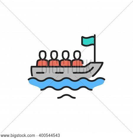 Boat Transportation Illegal Immigrants Color Line Icon. Editable Stroke.