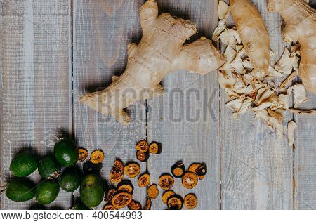 Fruit Chips With Fresh Fruits On The Wooden Table. Chips For Fruit Leather Top View. Healthy Food. O