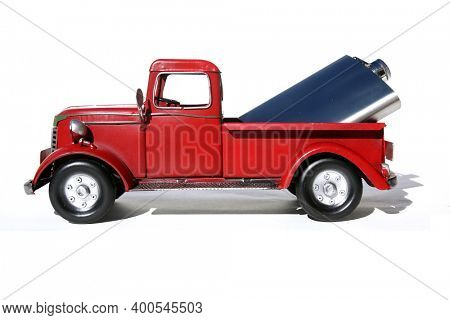 Red Pick Up Truck. Vintage Red Pick Up Truck with Whiskey or Liquor in the back. Red Truck with Hip Flask of Whiskey or Liquor. Isolated on white. Room for text.