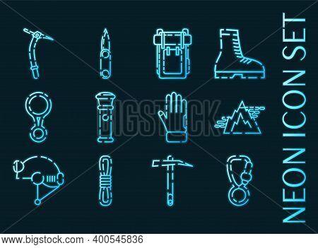 Speleologist Set Icons. Blue Glowing Neon Style