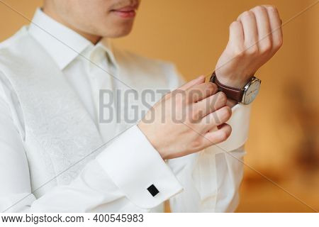 Businessman Clock Clothes, Businessman Checking Time On His Wrist Watch. Mens Hand With A Watch, Wat