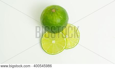 Ripe Green Lime Citrus Lime Slice On White Background. Isolate