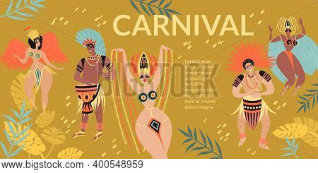 Brazilian Carnival Banner With Cartoon Characters Of Dancers And Drummers In Traditional Costumes An