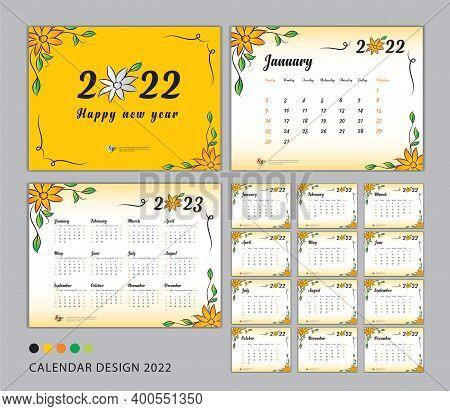 Desk Calendar 2022 Template Set, Flower Concept, Calendar 2022-2023, Happy New Year 2022 Year, Wall