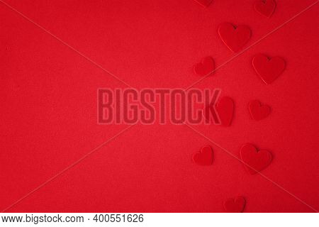 Valentines Day Background. Hearts On The Red Background. Valentine Day Concept. Top View, Flat Lay
