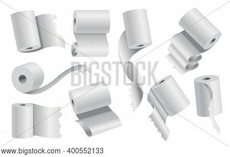 Realistic Toilet Paper Or Kitchen Towel Roll Template Mockup Set Isolated Vector Illustration. Blank