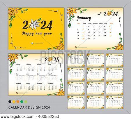 Desk Calendar 2024 Template Set, Flower Concept, Calendar 2024-2025, Happy New Year 2024 Year, Wall