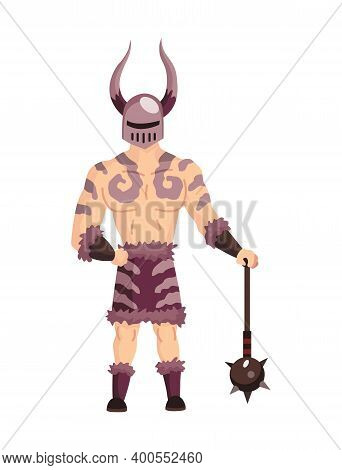 Medieval Kingdom Character Of Middle Ages Historic Period Vector Illustration. Medieval Fighter Or V